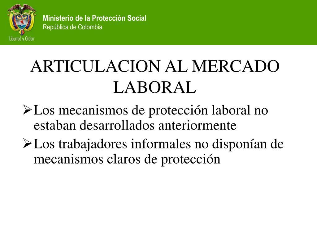 ARTICULACION AL MERCADO LABORAL