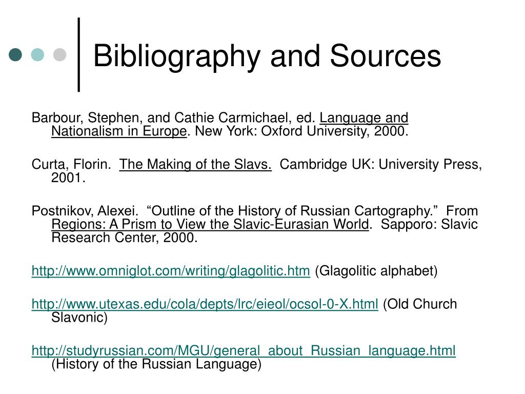 Bibliography and Sources