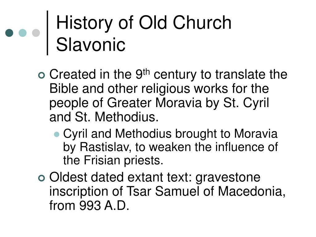 History of Old Church Slavonic