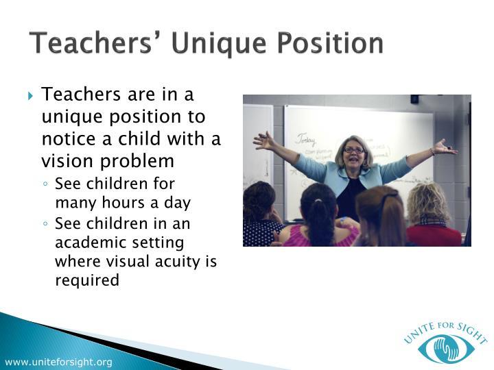 Teachers unique position
