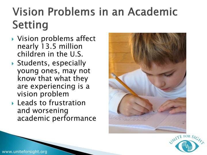 Vision problems in an academic setting