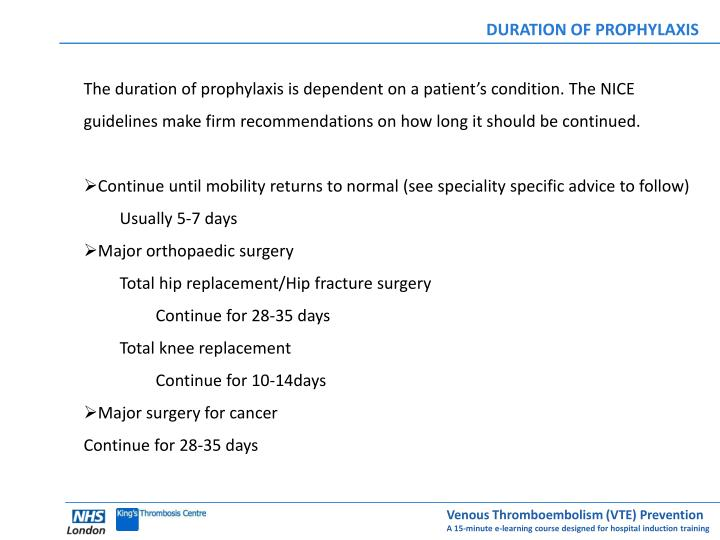 DURATION OF PROPHYLAXIS