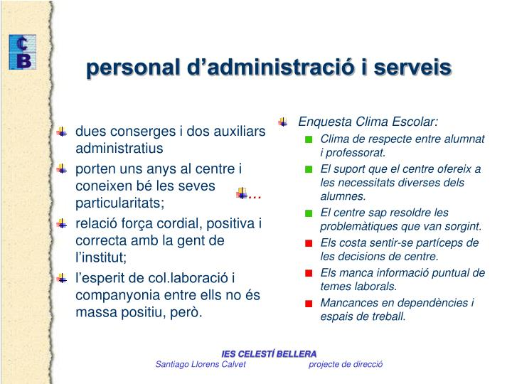 dues conserges i dos auxiliars administratius