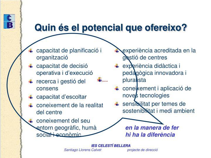 capacitat de planificació i organització
