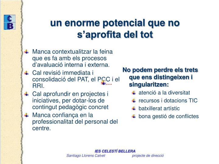 Manca contextualitzar la feina que es fa amb els procesos d'avaluació interna i externa.