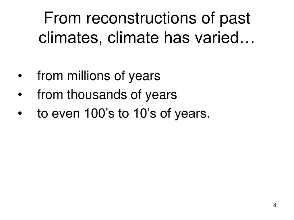 From reconstructions of past climates, climate has varied…