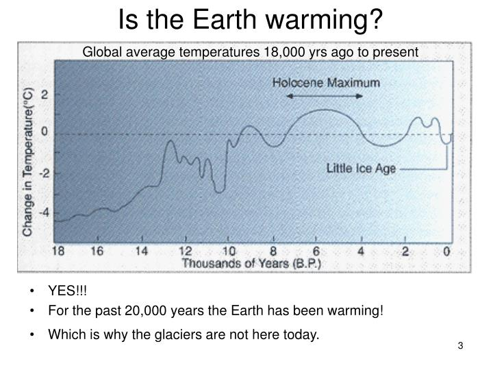 Is the earth warming global average temperatures 18 000 yrs ago to present