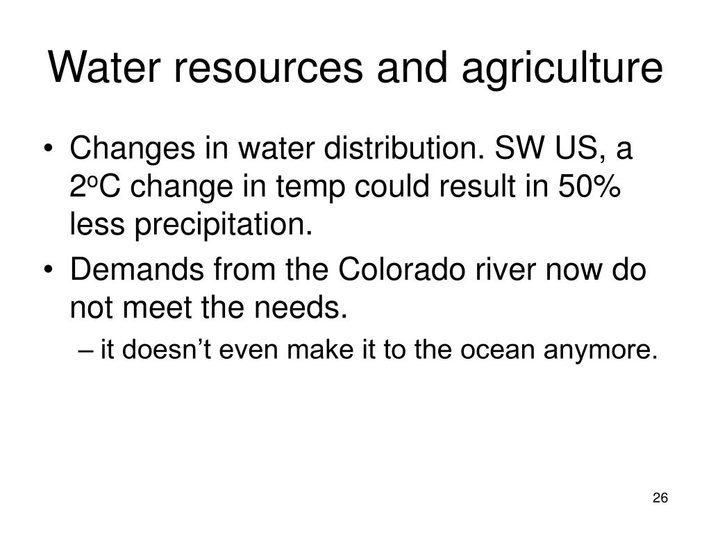 Water resources and agriculture