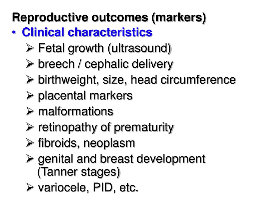 Reproductive outcomes (markers)