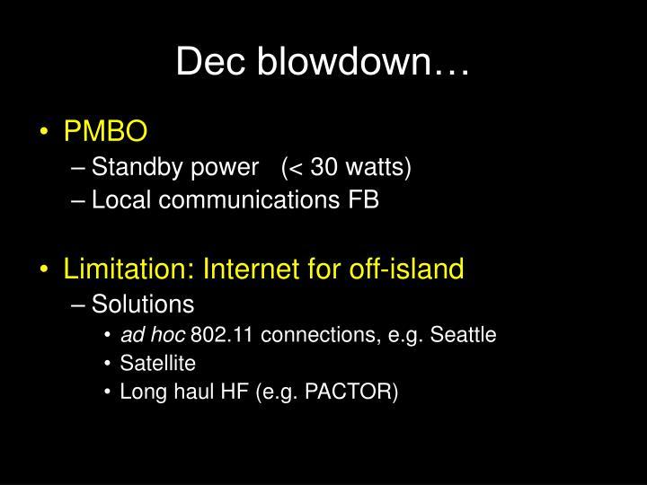 Dec blowdown…