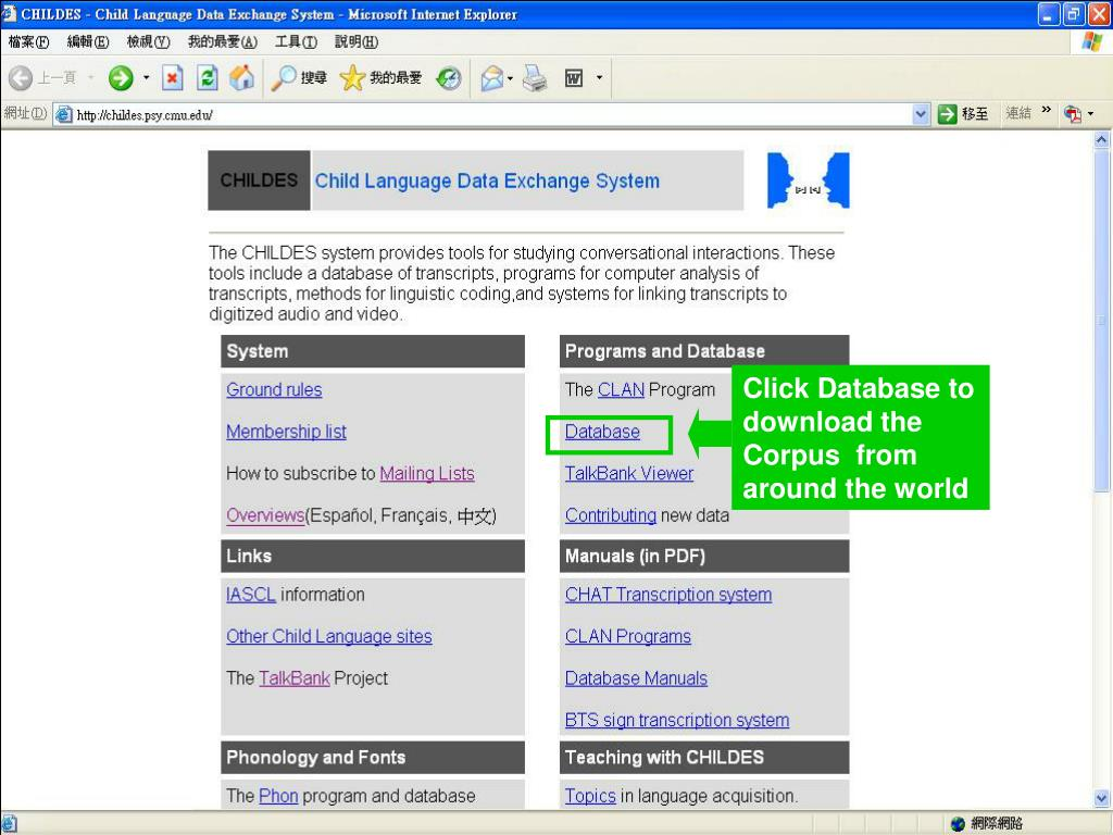 Click Database to download the Corpus  from around the world