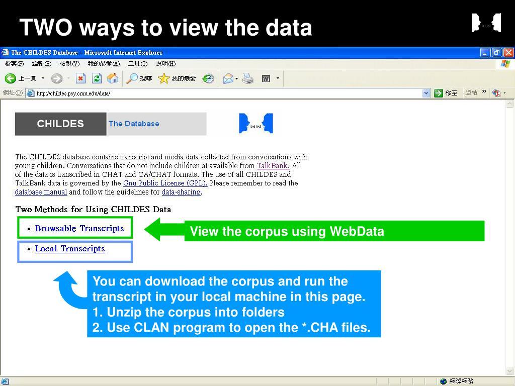 View the corpus using WebData