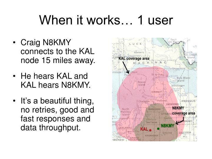 When it works 1 user