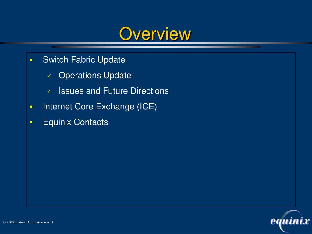 Switch Fabric Update