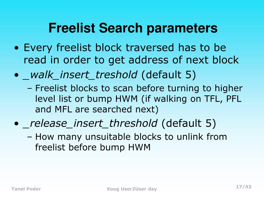 Freelist Search parameters