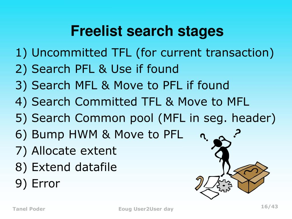 Freelist search stages