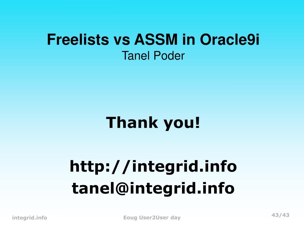 Freelists vs ASSM in Oracle9i