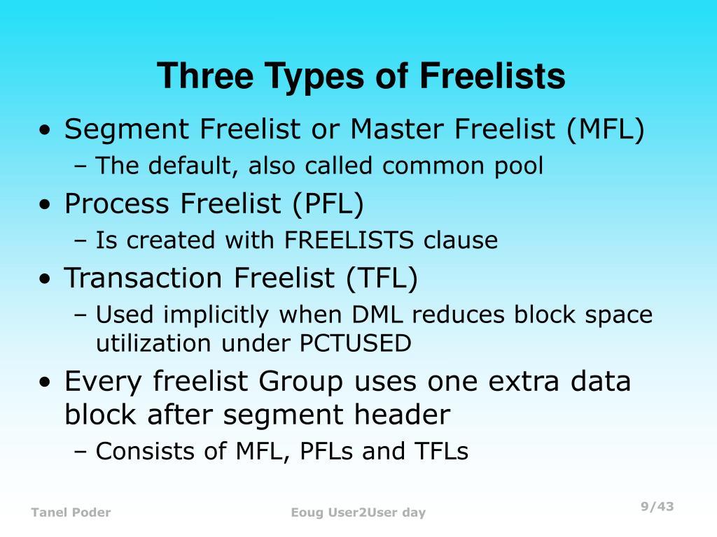 Three Types of Freelists
