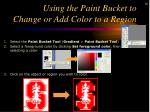 using the paint bucket to change or add color to a region