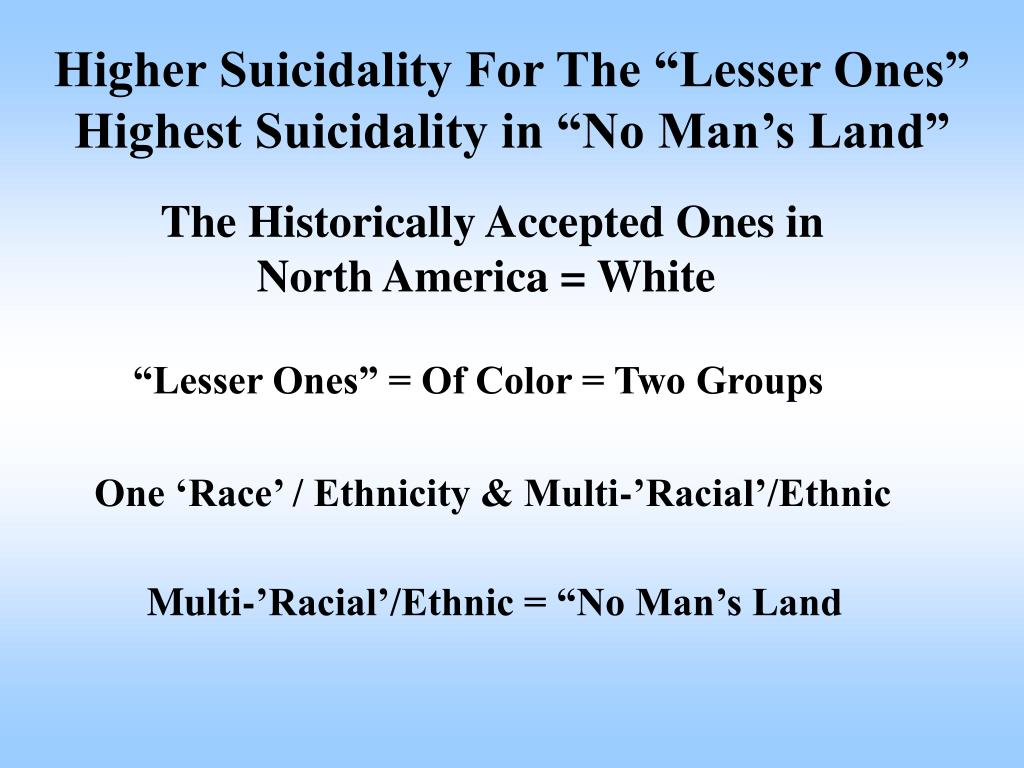 """Higher Suicidality For The """"Lesser Ones"""""""