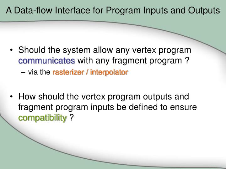 A Data-flow Interface for Program Inputs and Outputs