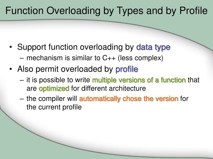 Function Overloading by Types and by Profile