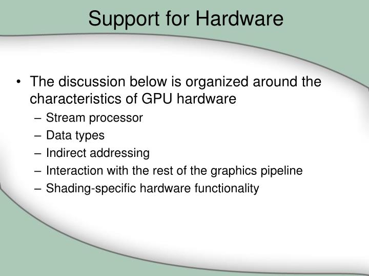 Support for Hardware
