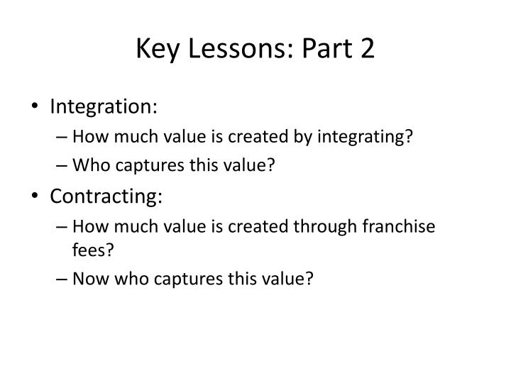 Key Lessons: Part 2