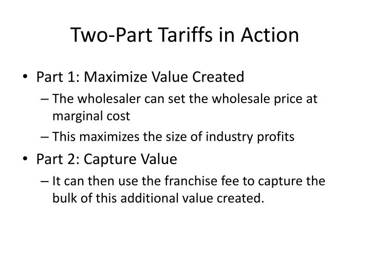 Two-Part Tariffs in Action