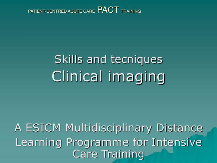 patient centred acute care pact training n.