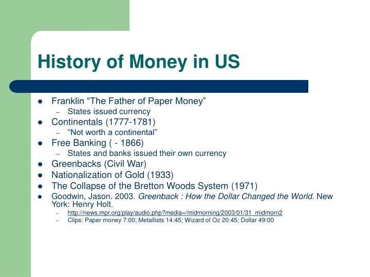 History of Money in US