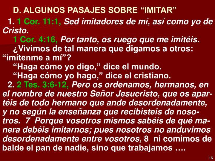"""D. ALGUNOS PASAJES SOBRE """"IMITAR"""""""