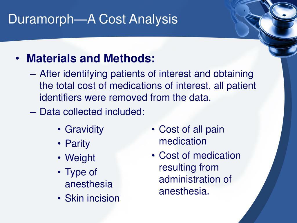 Duramorph—A Cost Analysis
