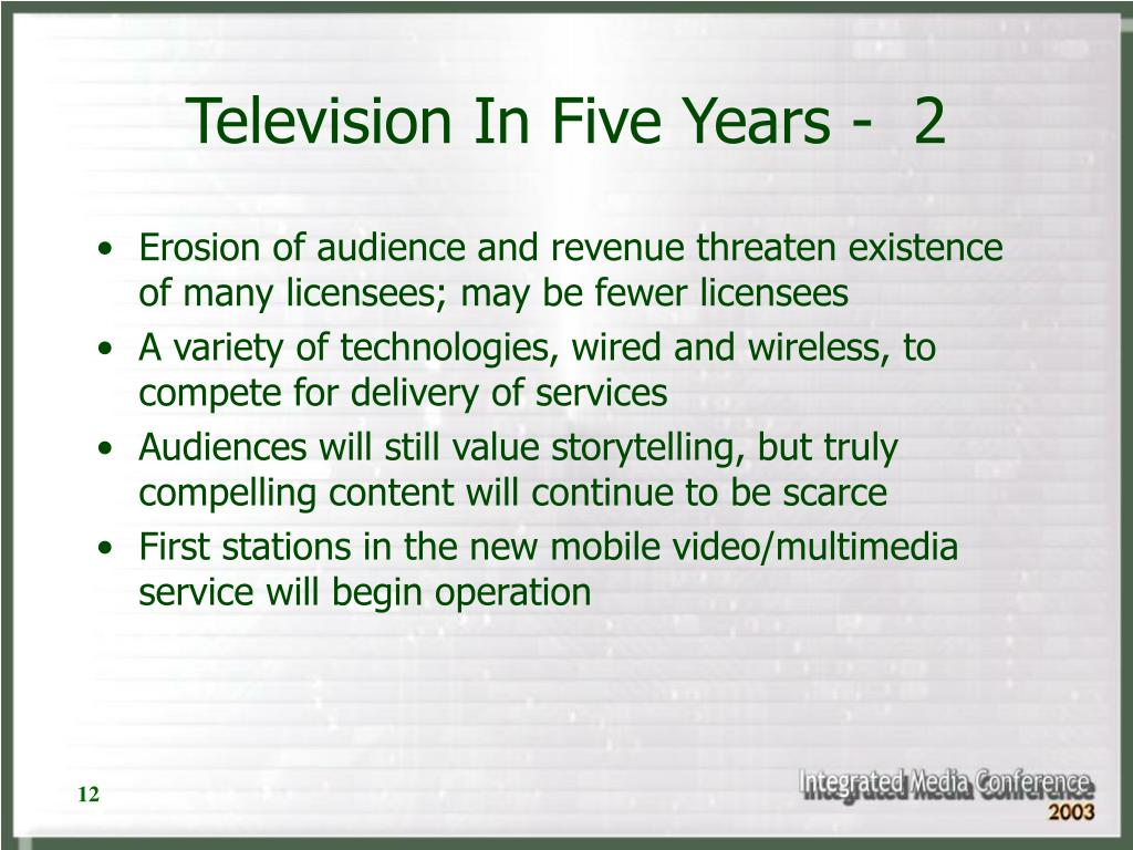 Television In Five Years -  2