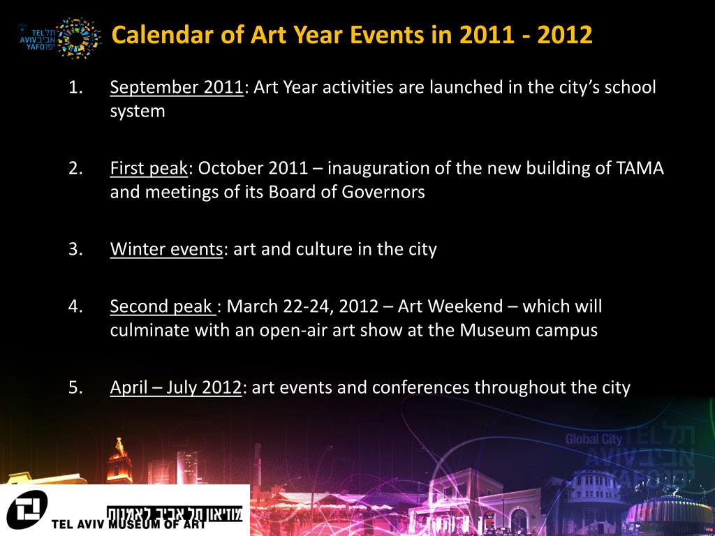 Calendar of Art Year Events in 2011 - 2012