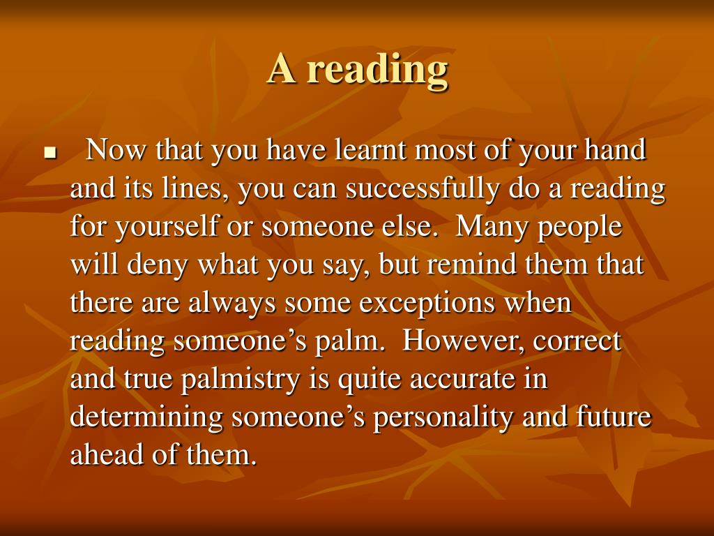 A reading