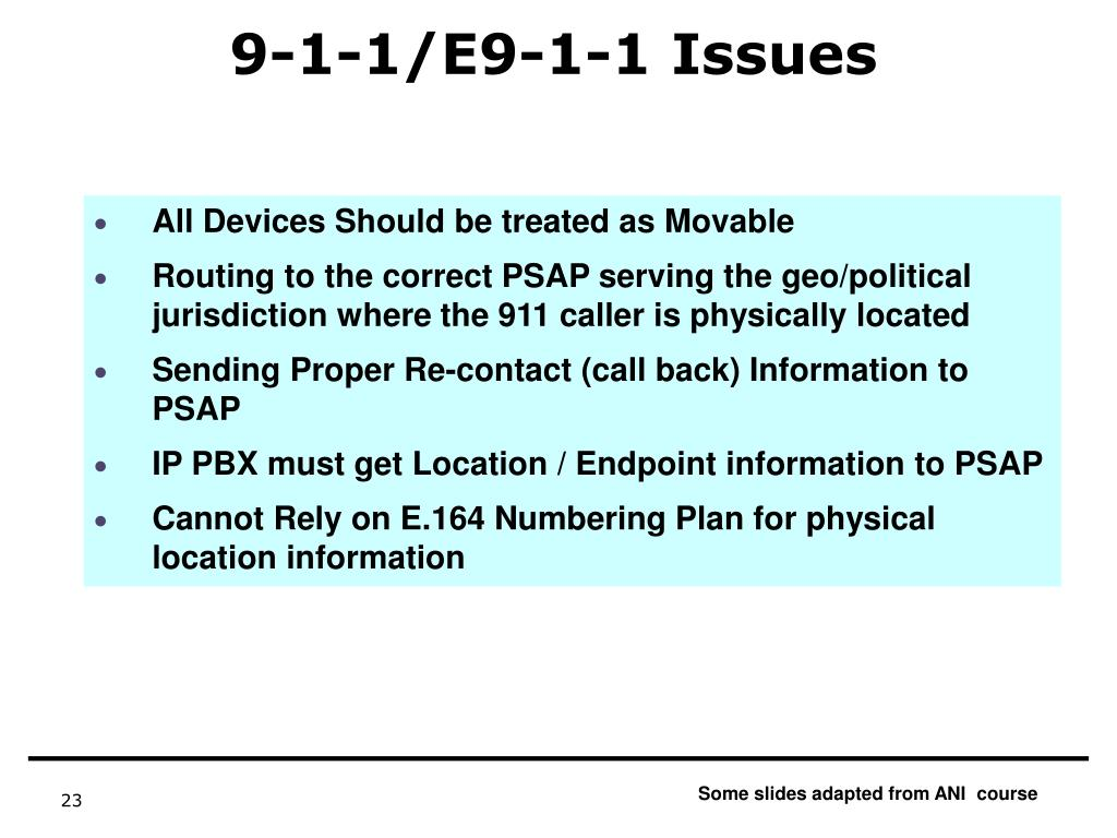 9-1-1/E9-1-1 Issues