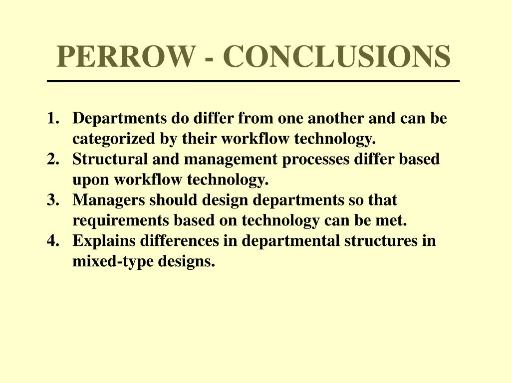 PERROW - CONCLUSIONS