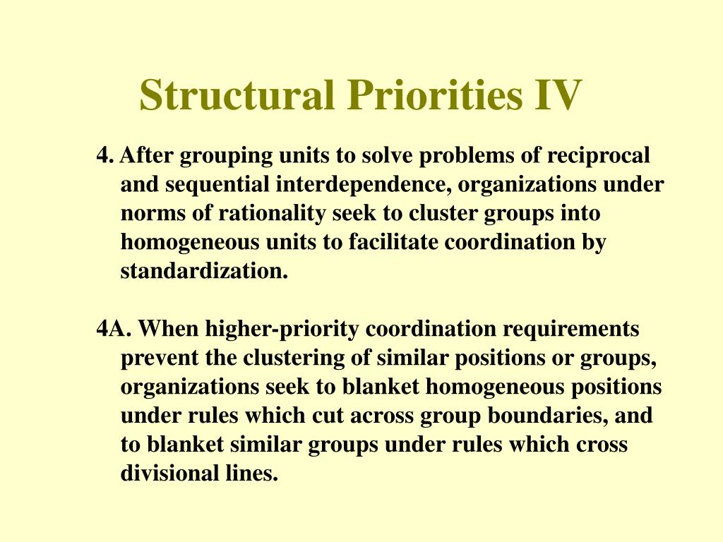 Structural Priorities IV