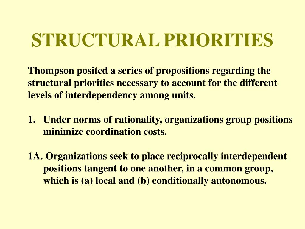 STRUCTURAL PRIORITIES