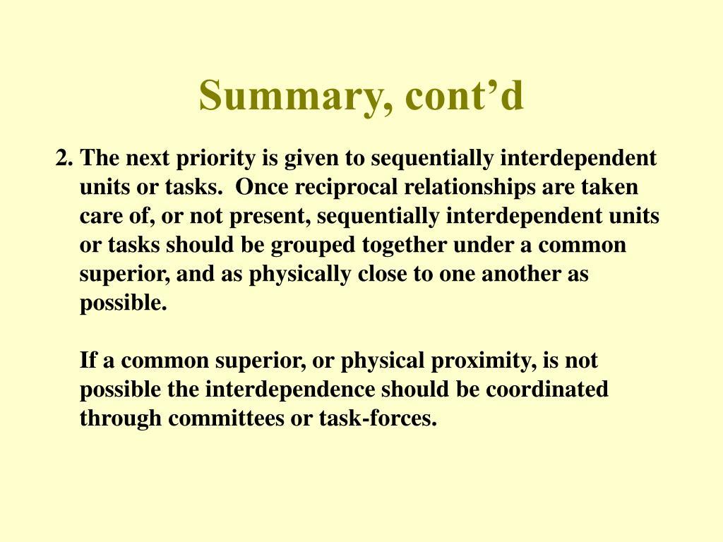 Summary, cont'd