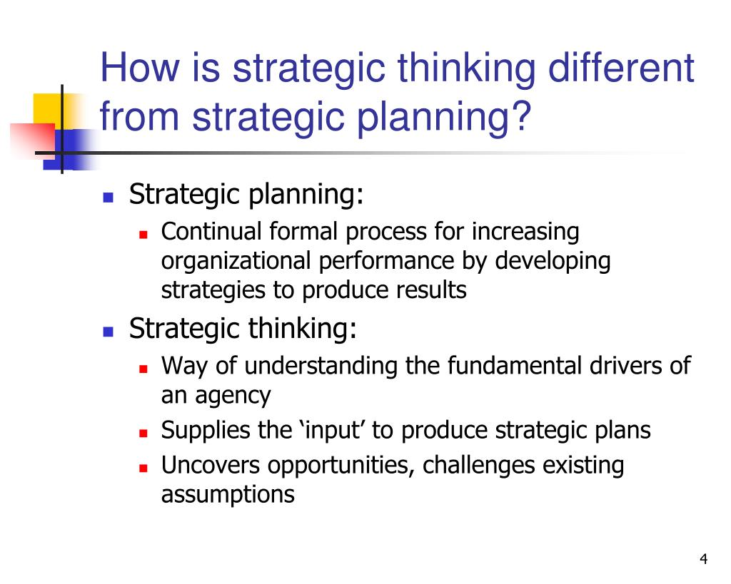 How is strategic thinking different from strategic planning?