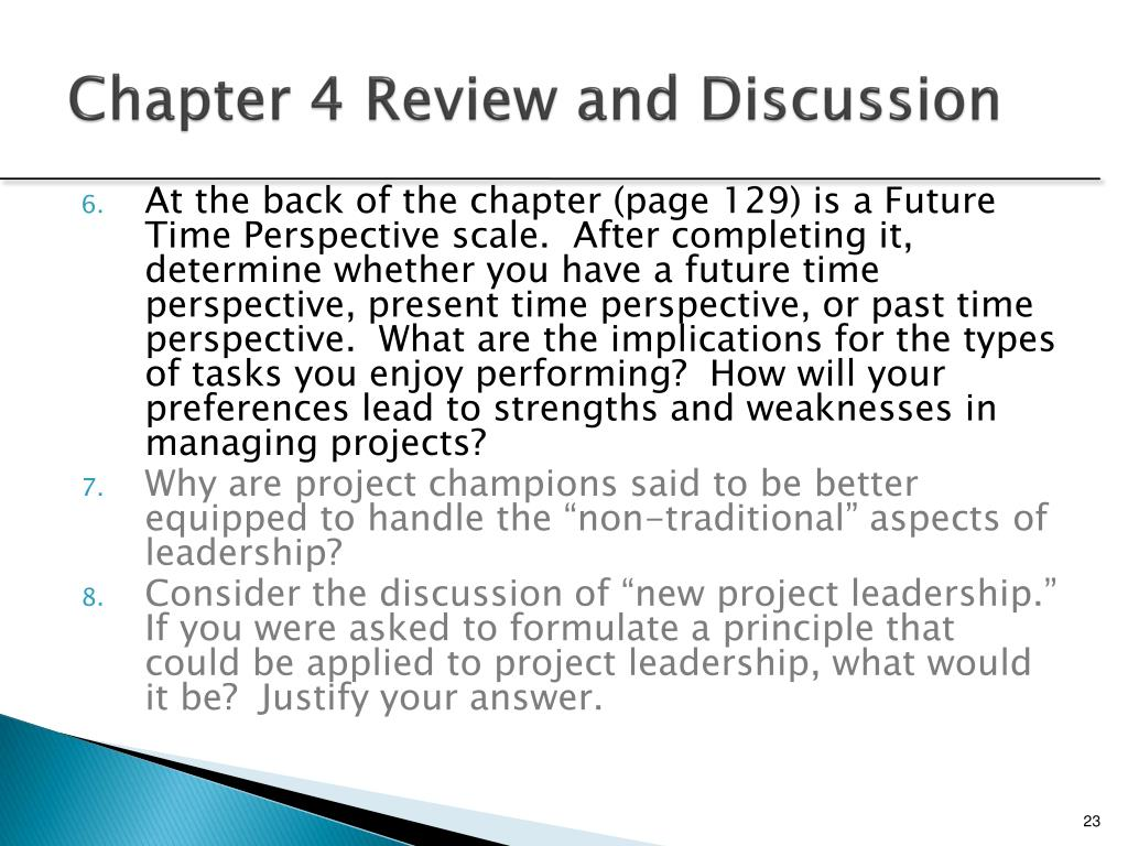 Chapter 4 Review and Discussion