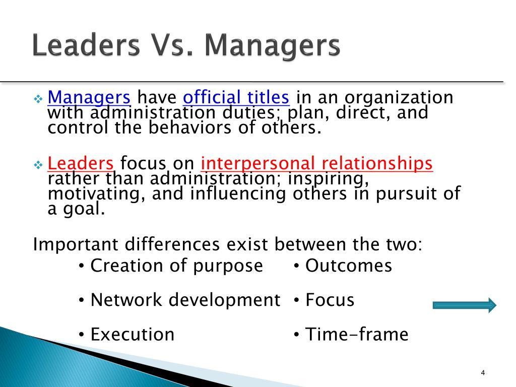 Leaders Vs. Managers
