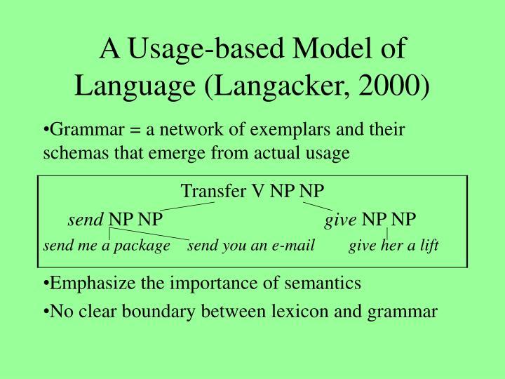 A usage based model of language langacker 2000