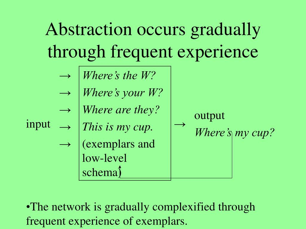 Abstraction occurs gradually through frequent experience