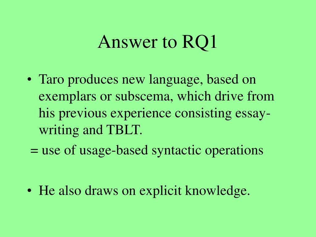 Answer to RQ1