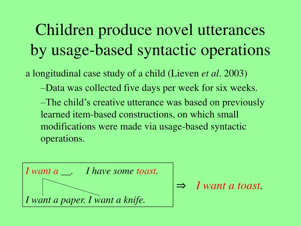 Children produce novel utterances by usage-based syntactic operations