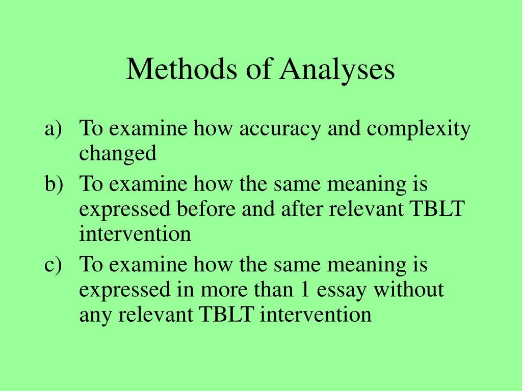 Methods of Analyses