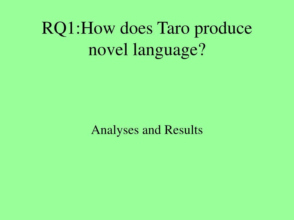 RQ1:How does Taro produce novel language?